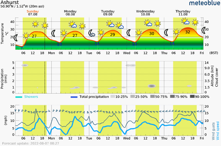 Meteogram - 5 days - Ashurst